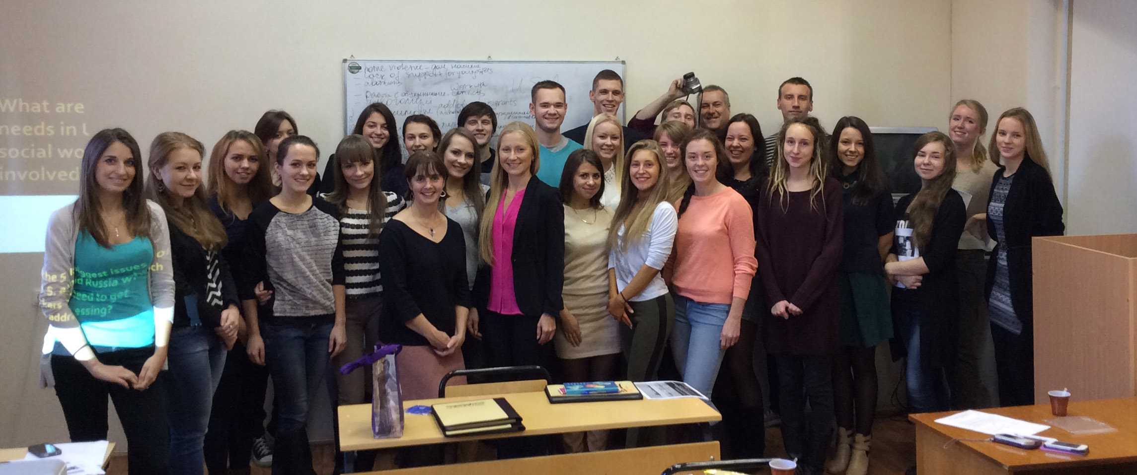 Social Work students at Petrozavodsk State University during the October 2014
