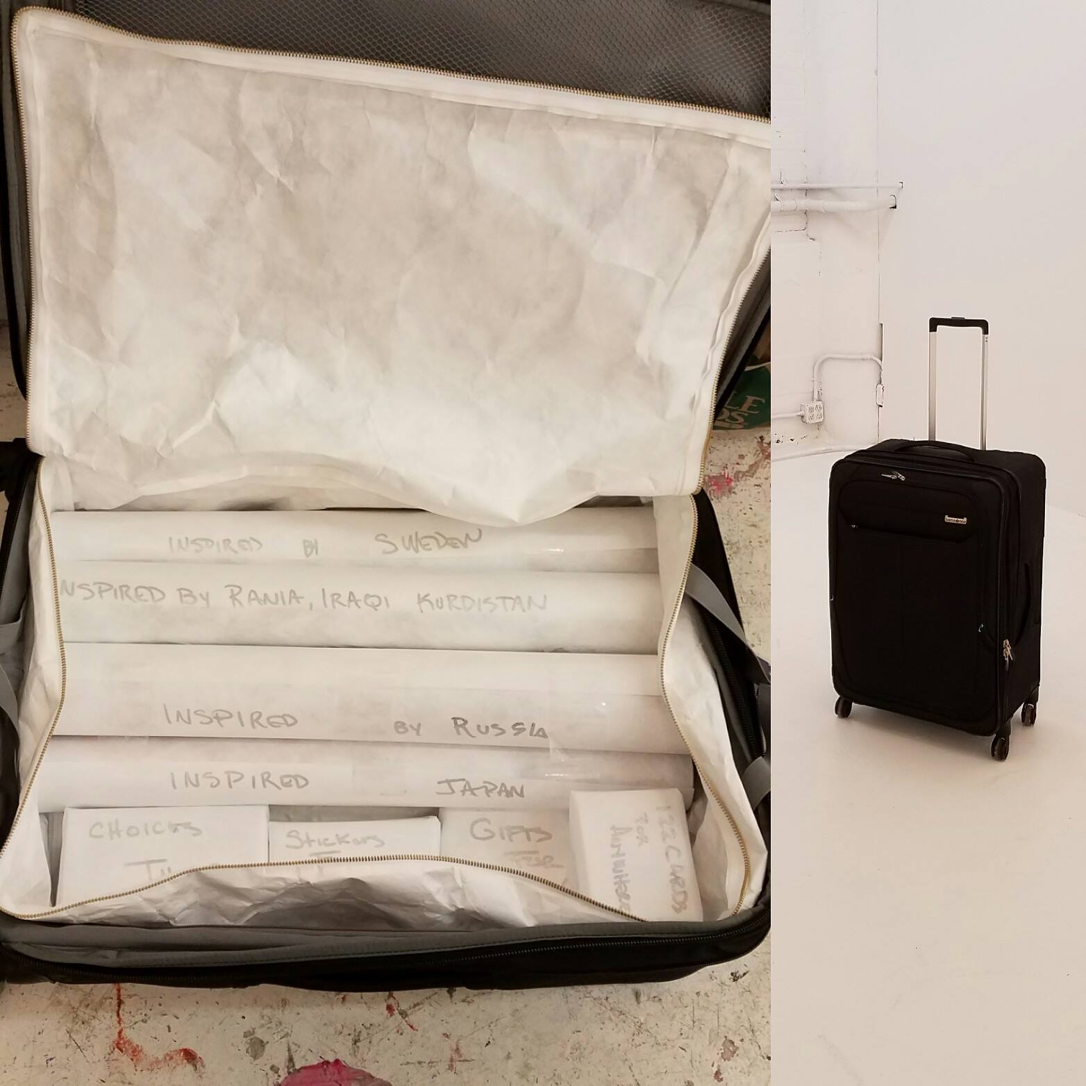 The suitcase in which all of Anne's art traveled to Russia